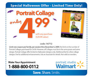 Valid only in-studio at any Walmart Portrait Studio in Canada. Can be combined with favorite pose package, portrait collections, and bundles. Limit 2 per person, may buy 3 additional as gift(s).Price: $