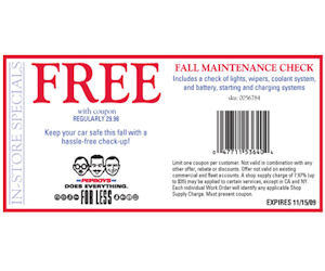 Boys Coupons on Pep Boys   Fall Maintenance Check With Coupon   Printable Coupons