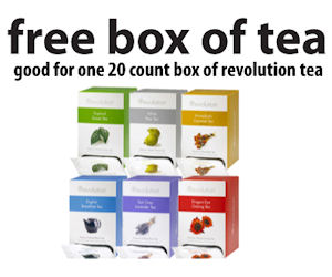 RevolutionTea provides you with loose leaf tea at the smallest prices on the market! If you would like to order some that will help you drink tea like the British, then go to them! Use this coupon, and get free shaker with any Two 16 Counts!Limited offer!