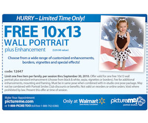 Valid only in-studio at any Walmart Portrait Studio in Canada. Can be combined with favourite pose package, portrait collections, and bundles. Not valid with other offers, discounts, manager specials, or Price: $