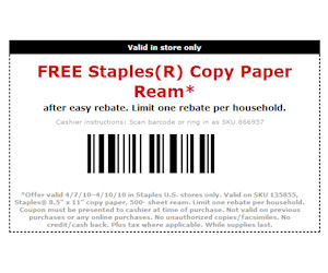 Staples coupon printing