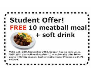 Ikea free meatball meal soft drink for students with for Coupon mobile ikea