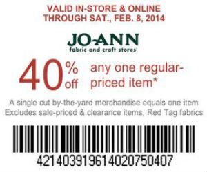 Jo ann fabric coupon for 40 off item and free shipping for Jo ann fabric and craft coupons