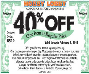 Yes. Hobby Lobby regularly offers a coupon (usable in stores and online) worth 40% off any regularly priced item. Plus, its weekly ad (available on its website) also offers discounts and coupons for specific items and in certain categories. Can you use the 40% off coupon on furniture at Hobby Lobby? Yes.