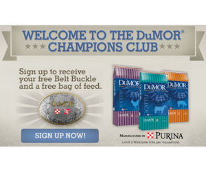 Dumor Belt Buckle or Hat & a Free Bag of Livestock Feed