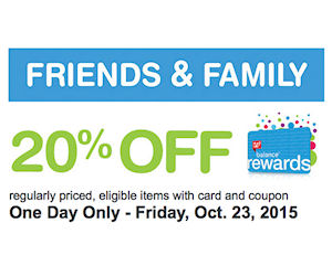 Walgreens Friends Family Event Save 20 One Day Only Printable Coupons