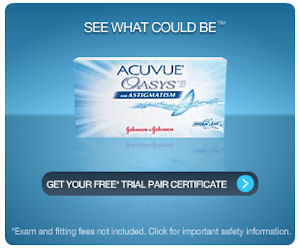 ACUVUE OASYS for Astigmatism contact lenses combine Hydraclear Plus technology and silicon hydrogel to provide contact lens wearers with a highly comfortable lens wearing experience. Their wetting agent keeps soft and flexible lenses moist all day and they even have a special marker so you are sure to insert them the right way round.