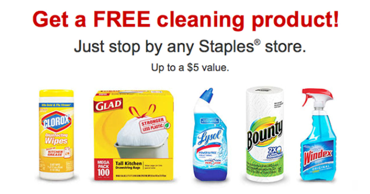 free cleaning product for staples rewards members check emails
