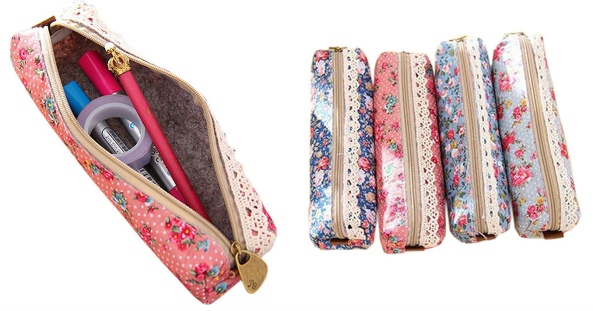 Retro Flower Pencil Cases Only $0.96 Each Shipped