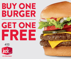 graphic relating to Jack in the Box Printable Coupons called BOGO Absolutely free Jack inside of the Box Burger for Countrywide Cheeseburger