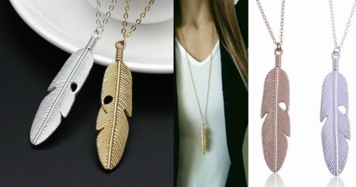 Feather Pendant Necklace $2.83...