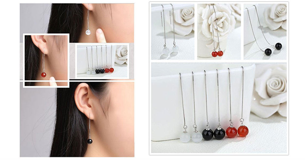 Sterling Silver Natural Bead Earrings Under $10