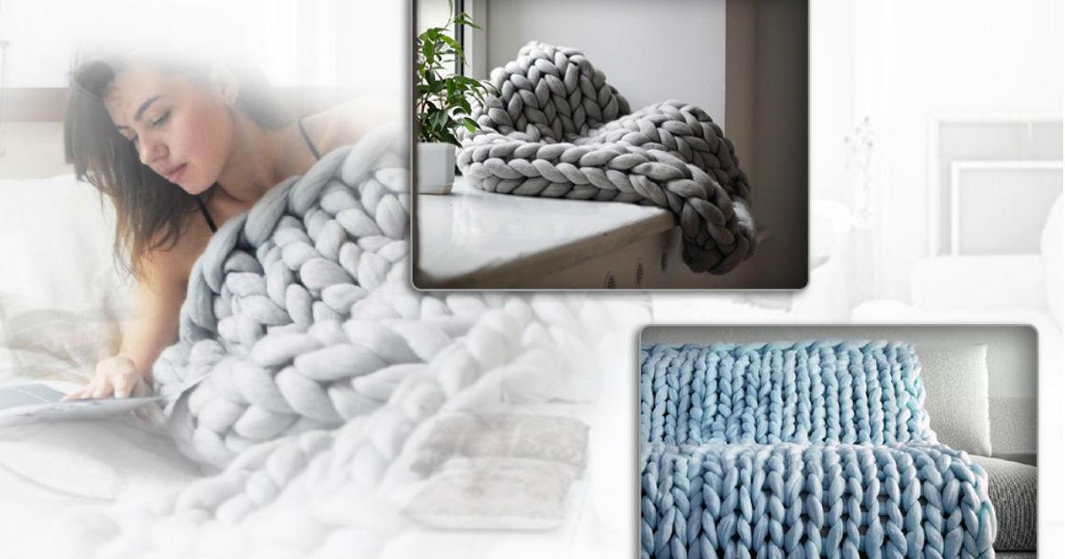 Chunky Knit Handmade Thick Bla...