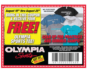 picture regarding Olympia Sports Printable Coupons identify Olympia Sports activities Tee - Totally free Within-Shop with Coupon - Printable