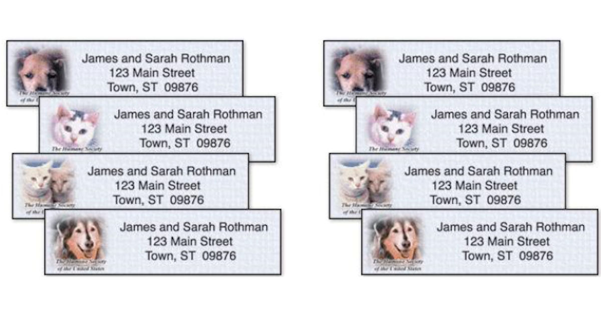 Free The Humane Society Address Labels Product Samples