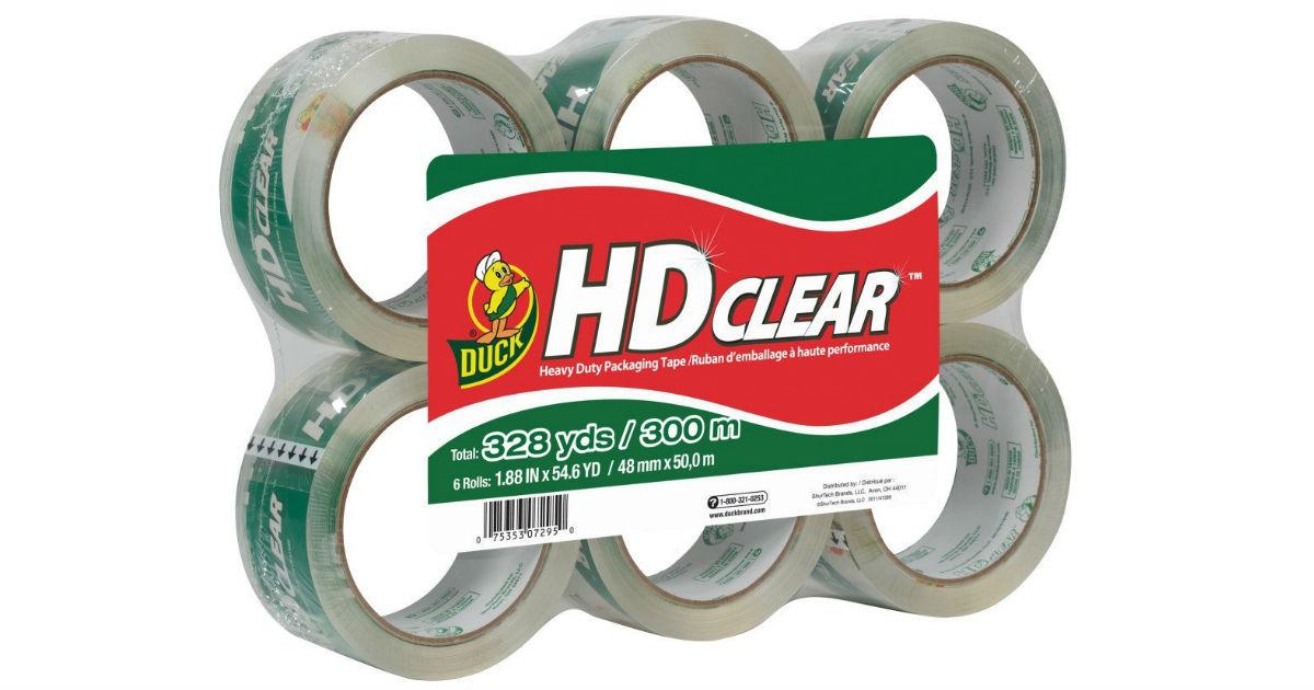 $9.66 for Duck HD Clear Heavy Duty Packaging Tape 6ct