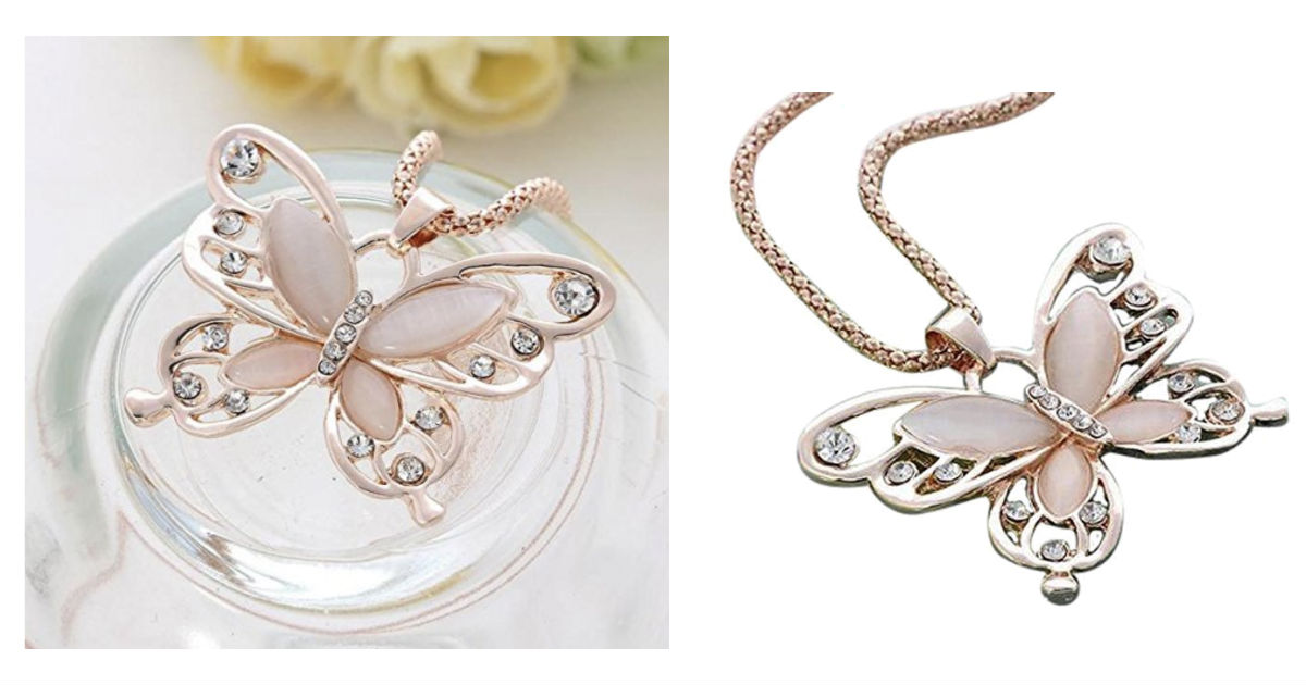 Lady Rose Gold Opal Butterfly Pendant Necklace ONLY $2.39