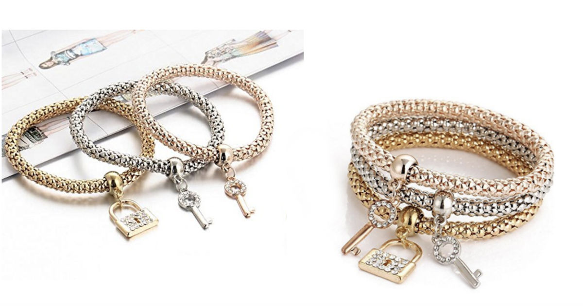 Crystal key lock set Chain Bracelet & Bangle ONLY $2.94 Shipped!