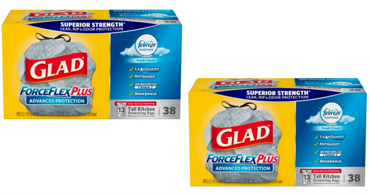 photograph regarding Glad Trash Bags Printable Coupon named Satisfied ForceFlex Additionally Trash Luggage 38-rely Just $6.39 at Focus