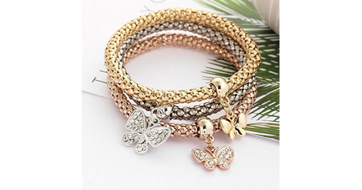 Women's Butterfly Diamond Chain Bracelet ONLY $2.70 Shipped