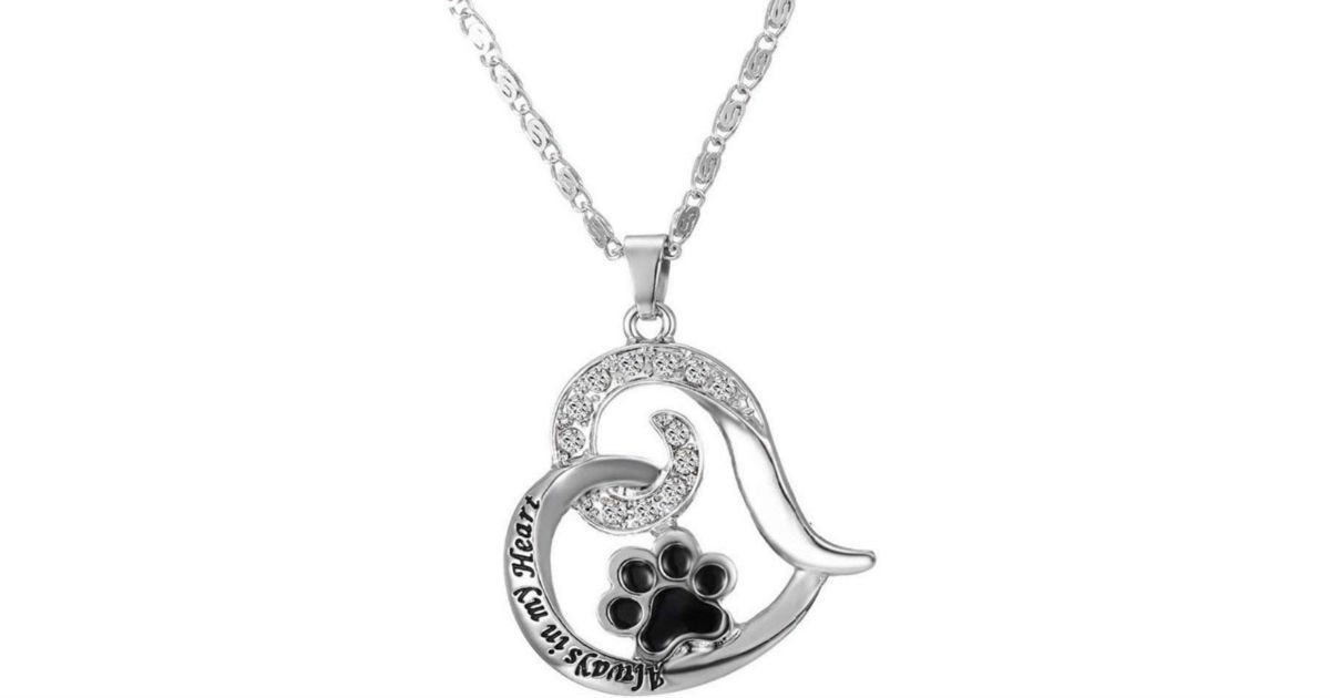Paw Print Heart Pet Lover Pendant Necklace ONLY $1.68 Shipped