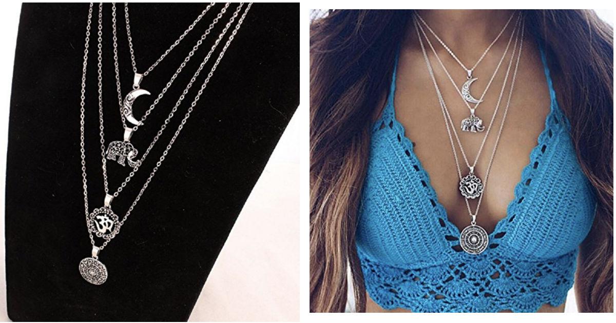 Elephant Moon Pendant Necklace...