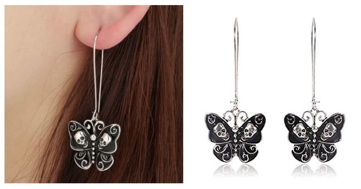 Butterfly Skull Dangle Earring...