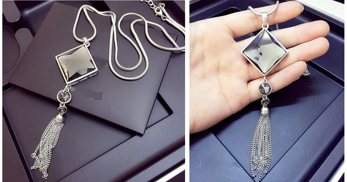 Square Glass Pendant Necklace.