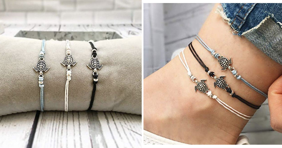 Boho Turtle Charm Anklet Beads...