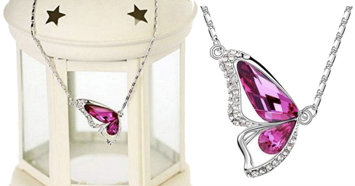Crystal Chain Necklace with Butterfly Pendant ONLY $2.66 Shipped