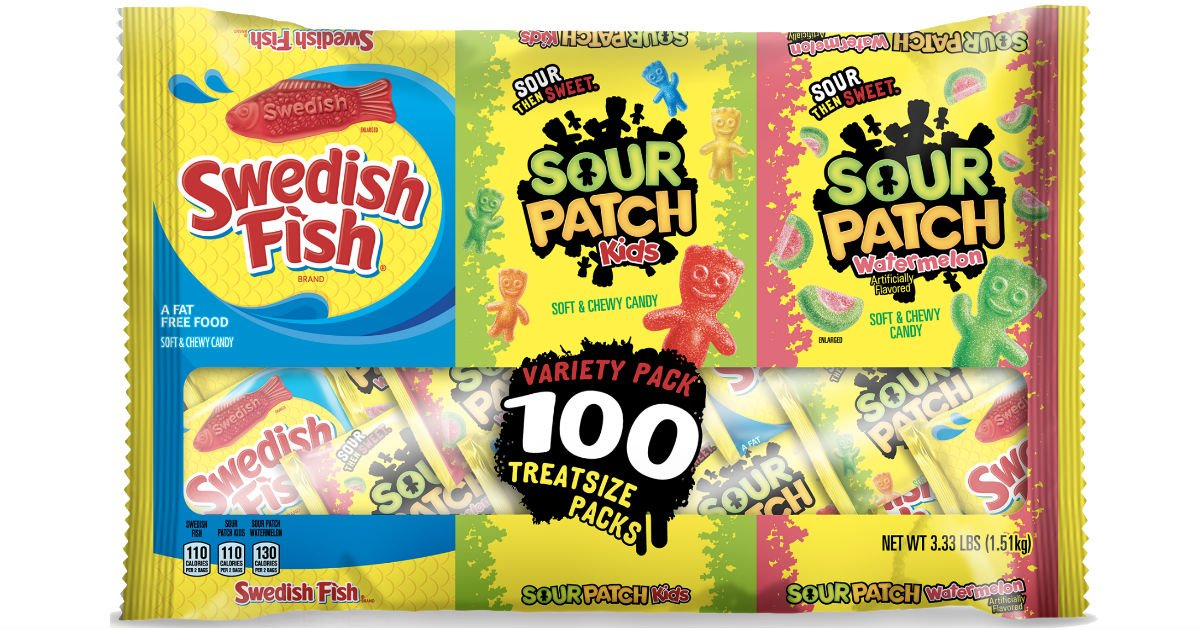 Sour Patch & Swedish Fish Halloween 100-Ct Variety Pk ONLY $9.94