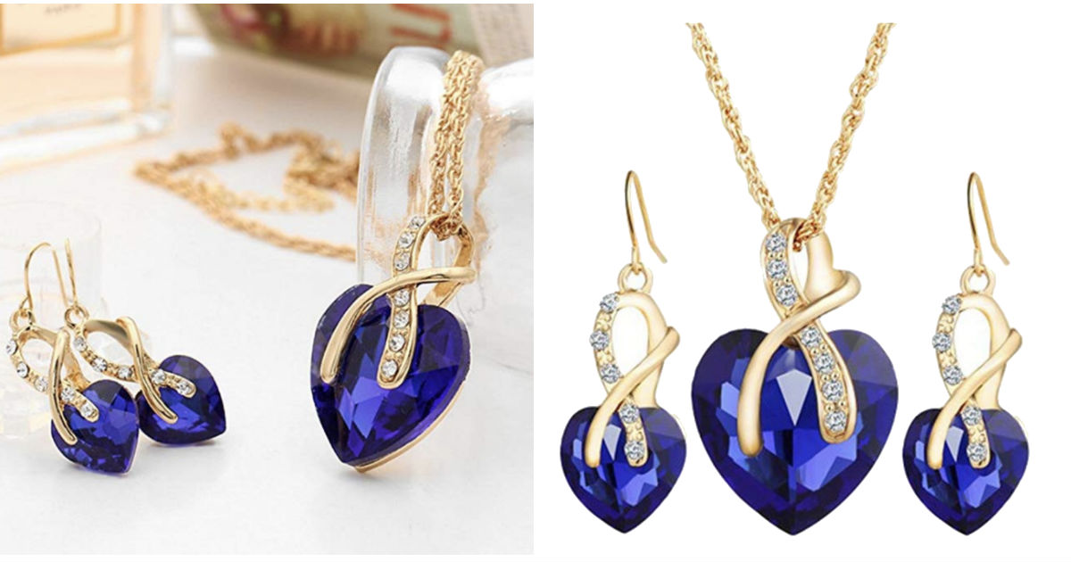 Heart Crystal Rhinestone Chain Pendant Necklace ONLY $4 Shipped