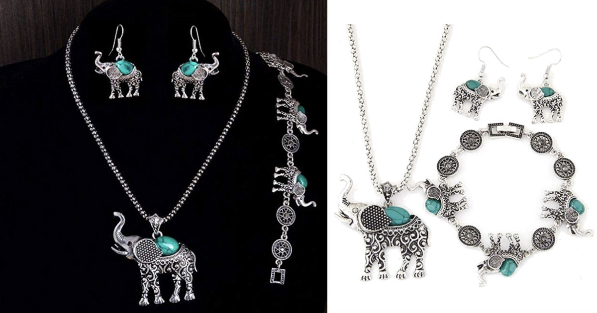 Vintage Elephant Jewelry Set ONLY $6.09 Shipped