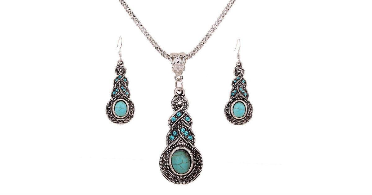 Nurbo Retro Turquoise Jewelry Set ONLY $1.99Shipped on Amazon