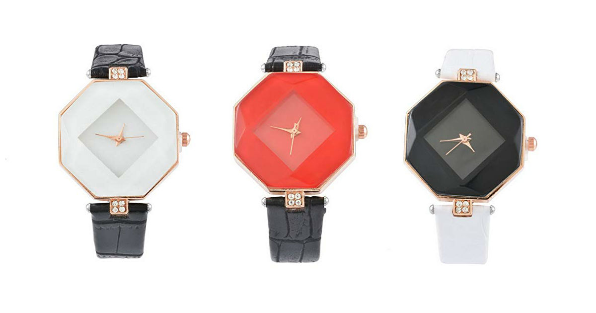 Leather Quartz Watch ONLY $4.5...