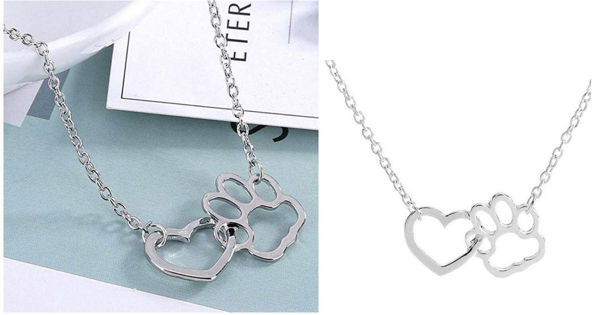 Heart Dog Paw Shape Pendant Ne...