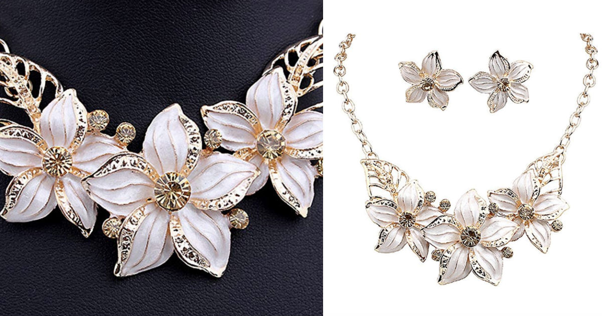 Crystal Flower Necklace Earrings Jewelry Set ONLY $4.35 Shipped