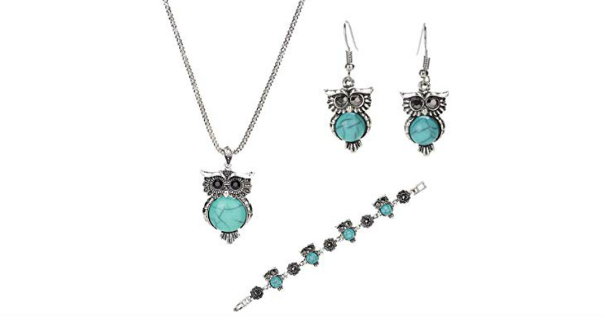 Turquoise Owl Jewelry Set ONLY $4.99 Shipped on Amazon