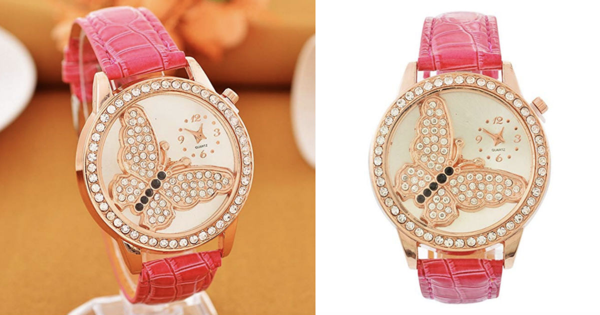Butterfly Pattern Quartz Watch...