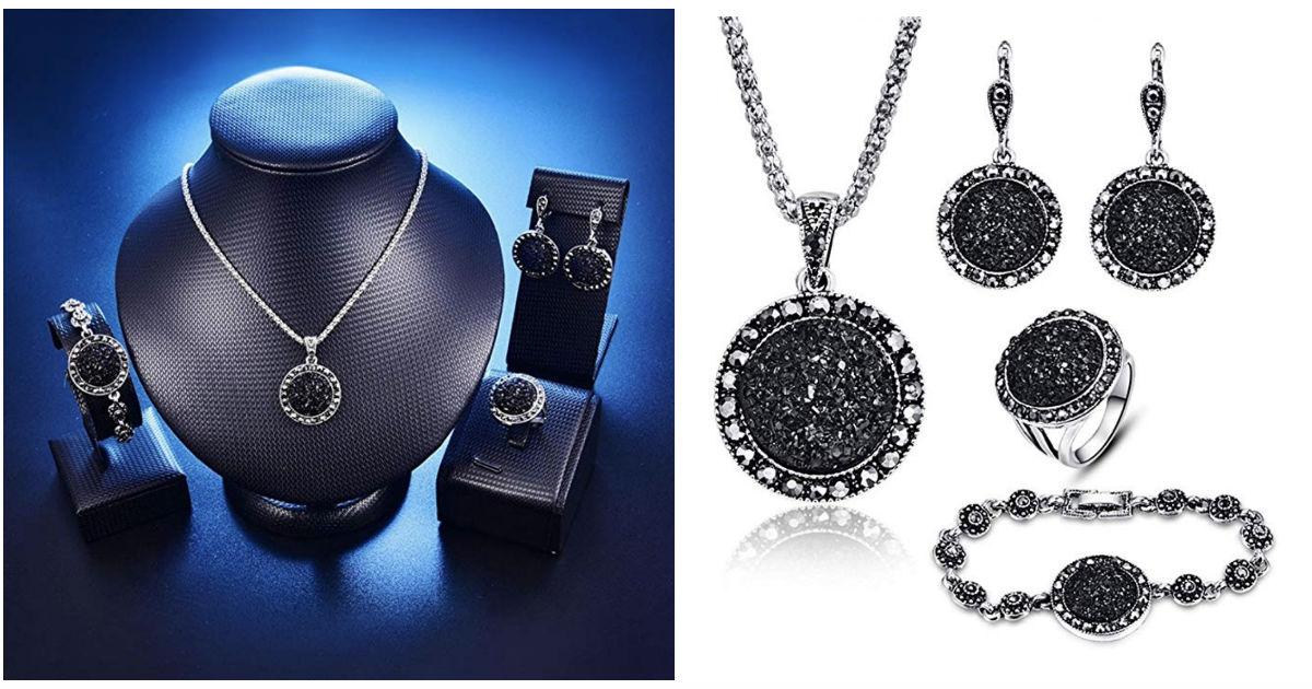 Black Diamond Drusy Agate Jewe...