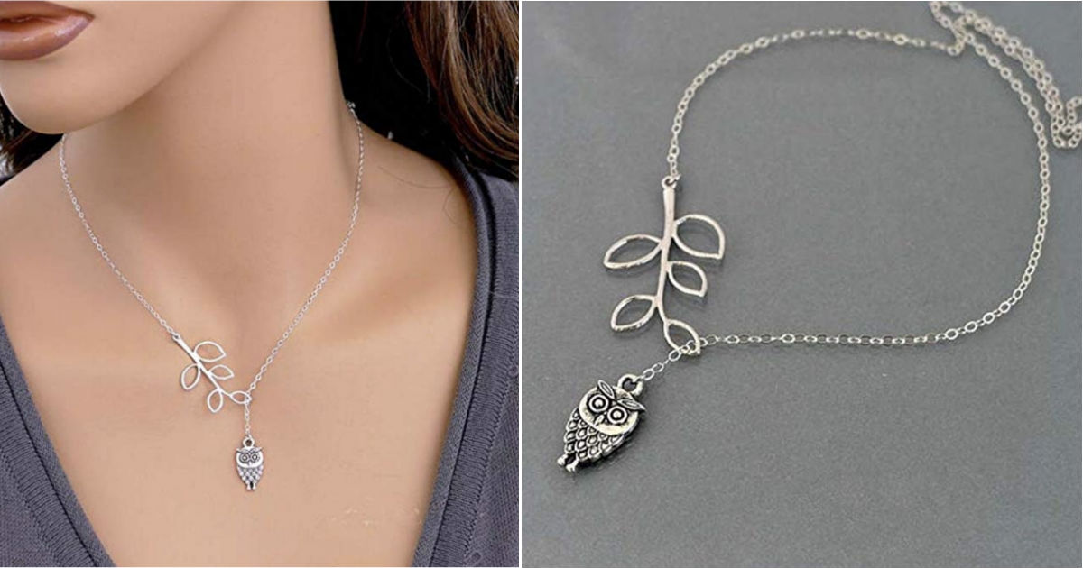 Owl Leaf Branch Necklace ONLY.
