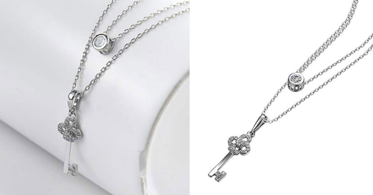 Fashion Key Crystal Pendant Ne...