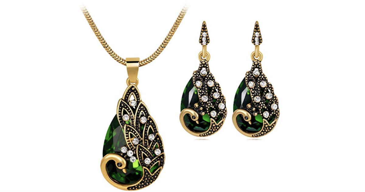 Retro Peacock Pendant Chain Necklace Set ONLY $4.91 Shipped