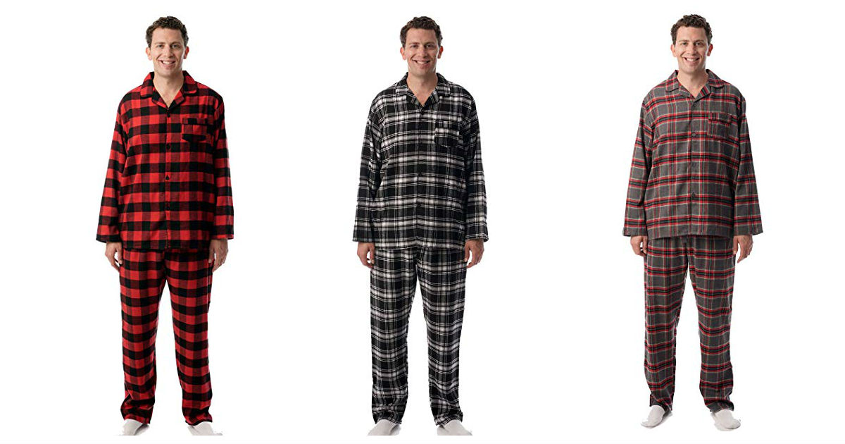 Men's Plaid Button From Pajama...