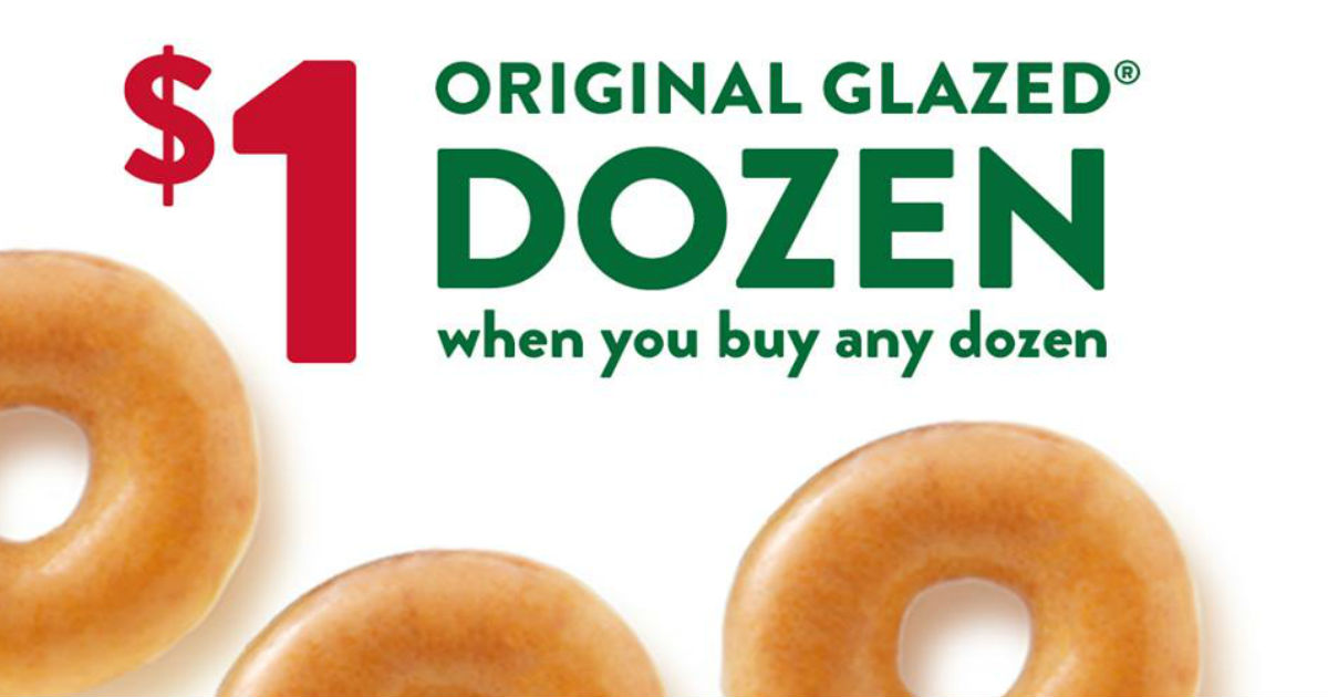 picture regarding Krispy Kreme Printable Coupons called At present Merely: Order a Dozen Doughnuts for $1.00 at Krispy Kreme