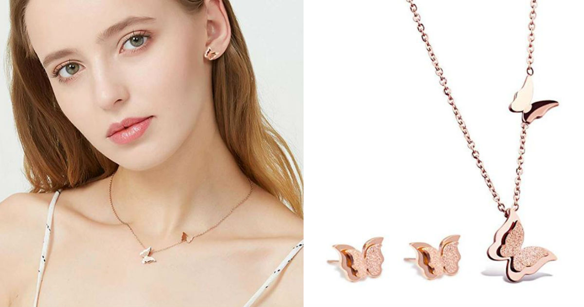 Rose Gold Butterfly Pendant Ne...