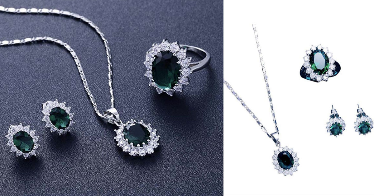 Plated Zircon Flower Pendant Set ONLY $4.99 Shipped