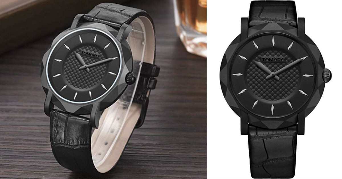 Quartz Leather Ultra Thin Black Watch ONLY $10.99 Shipped
