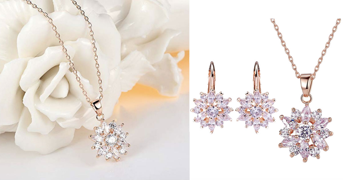Zirconia Snowflake Earrings Ne...