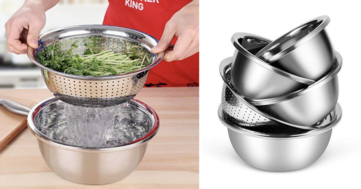 Stainless Steel Colander and Mixing Bowls 5-ct ONLY $24 Shipped